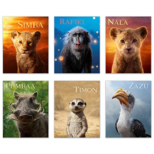 - Lion King 2019 Prints - Set of 6 (8 inches x 10 inches) Photos - Simba - Nala - Timon - Pumbaa - Rafiki - Zazu - Includes Bonus Poster of Mufasa and Simba