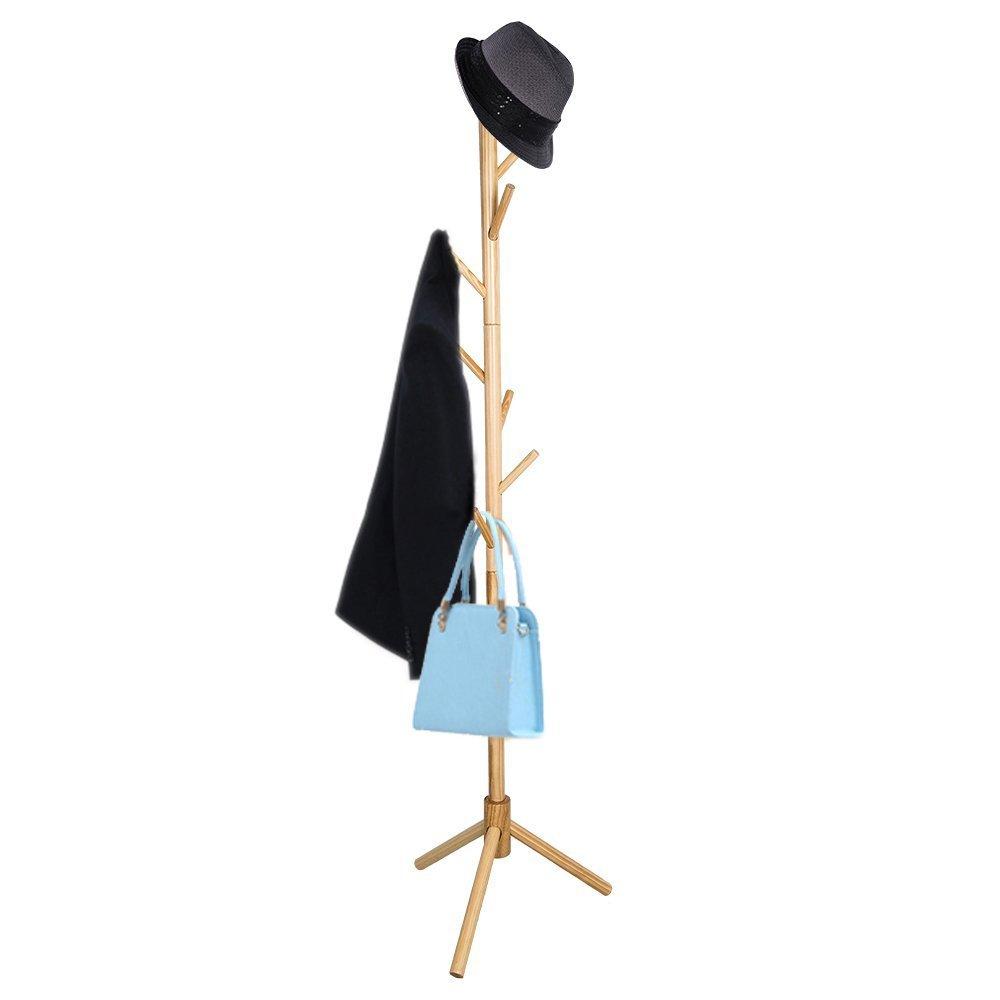 TOP-MAX 8 Crochets acier Chapeau parapluie Vêtements Veste Manteau de rangement Organisateur Support de 175 cm 3 couleurs