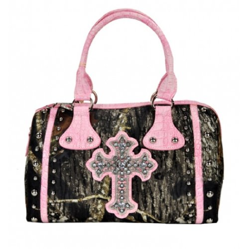 Mossy Oak® Camo Western Cross Rhinestone Studded 2 Way Boston Tote Brown Pink AH22