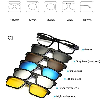 5a40036140 BuyWorld Fashion Optical Spectacle Frame Men Women Myopia with 5 Clip On Sunglasses  Polarized Magnetic Glasses for Male Eyeglasses RS219  Amazon.in  ...