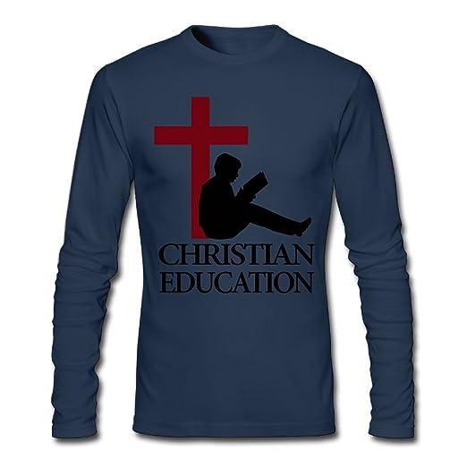 Christian Education Mens Tshirt, Long Sleeve Bottoming Shirt Overclothes For Men | Amazon.com