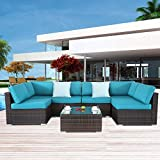 Outdoor Rattan Sofa PE Brown Rattan Couch Set 7pcs Garden Sectional Patio Furniture Cushioned Chair Conversation Sets Christmas Party Sofa-Easy Assembled(Turquoise Cushions,7 Piece)