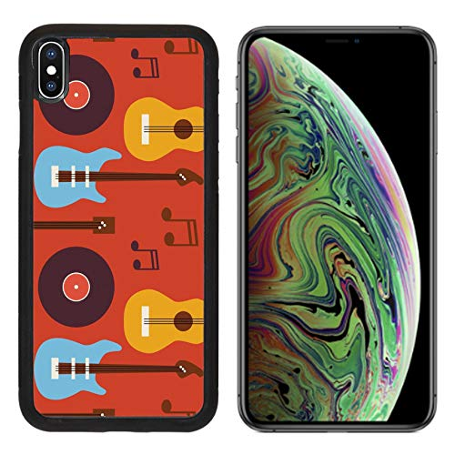 Luxlady Apple iPhone Xs MAX Case Aluminum Backplate Bumper Snap Cases ID: 42172068 Pattern Music Instrument Guitar Vinyl Disc and Note Flat Style Vector Seamless