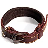 Leather Dog Collar - Logical Leather Padded Dog Collar - Best Full Grain Heavy Duty Genuine Leather Collar - Brown - Extra Small