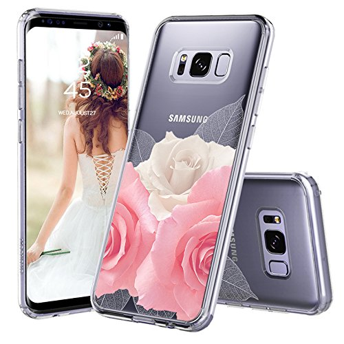 Galaxy S8 Plus Case, Galaxy S8 Plus Case for Girls, MOSNOVO Floral Roses Printed Flower Clear Design Transparent Plastic Hard Case with TPU Bumper Protective Case Cover for Samsung Galaxy S8 Plus