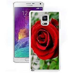 Beautiful Unique Designed Samsung Galaxy Note 4 N910A N910T N910P N910V N910R4 Phone Case With Red Rose Close Up_White Phone Case