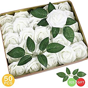 MARJON FlowersPack of 50 Real Looking Artificial Roses w/Stem for DIY Wedding Bouquets Centerpieces Arrangements Party Baby Shower Home Decorations (White) 72