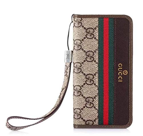 iPhone 11 Pro Full Protect Case, Brown Designer Monogram Wallet Case with Card Holder Wrist Lanyard for iPhone 11 Pro