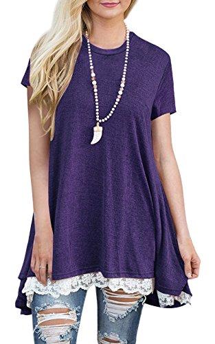 BELAMOR Cute Long Tunic Tops For Women To Wear With Leggings Purple,XL