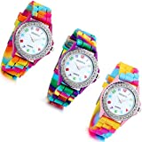 Lancardo Rhinestone Rainbow Color Silicon Jelly Fun Play Watches for Women Girls (3 color) (Pack of 3)