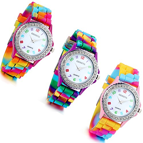 (Lancardo Rhinestone Rainbow Color Silicon Jelly Fun Play Cheap Watches for Women - Pack of 3 )