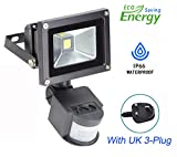 10W PIR Led Security Light, Daylight Motion Sensor Flood Light Outdoor, Smart and Sensitive Detection Setting (UK 3-Plug), Waterproof, Garden PIR Floodlight for Garage Yard Porch Entryways.