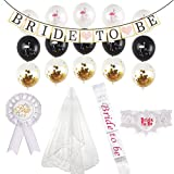 Bachelorette Party Decorations Kit,Bridal Wedding Veil,Bride to Be Sash,Rosette Badge and Garter,Bride to Be Banner and Balloons for Decoration