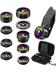 Criacr Phone Camera Lens, 9 in 1 Zoom Lens Kit, 0.36X Super Wide Angle Lens + 0.63X Wide Lens + 15X Macro Lens + 20X Macro Lens + 198°Fisheye Lens + CPL + Starburst Lens Telephoto Lens for Smartphones