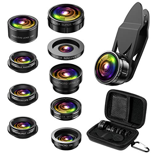 Criacr Phone Camere Lens, 9 in 1 Cell Phone Lens Kit, Zoom Lens, 0.36X Wide Angle Lens + 0.63X Wide Lens + 15X Macro Lens + 20X Macro Lens + 198°Fisheye Lens + CPL + Starburst Lens Telephoto Lens
