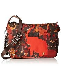 Shoulder bag in nylon - Piero Guidi - Magic Circus- Camouflage - Orange/ Brown