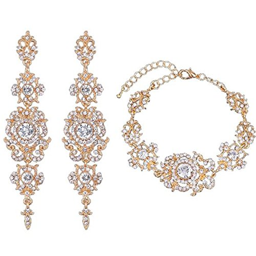 mecresh Gold Bridal Long Earring and Tennis Bracelet Austrian Crystal Jewelry Sets by mecresh