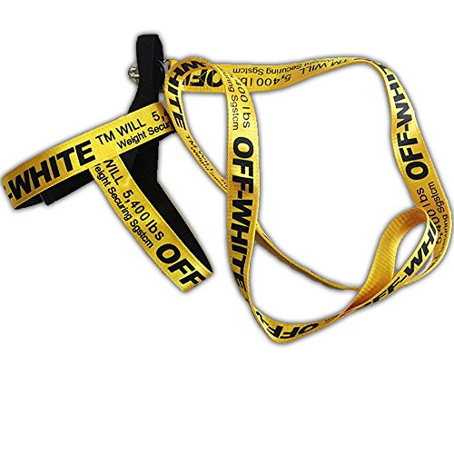(Off White Yellow Color Industrial Belt Strap Dog Collar Leash)