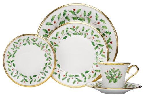 Amazon.com: Lenox Holiday 5-Piece Place Setting, Ivory: Dinnerware ...