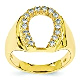 14K Gold Diamond Horseshoe Mens Ring Jewelry Sz 10