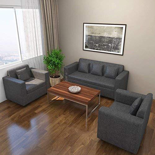 Bharat Lifestyle Lexus Fabric 3+1+1 Sofa Set  Dark Grey