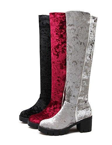 sintetica 5 Cn43 rosso nero tacco Uk8 5 Scarpe tacco Vestito grigio da XZZ lana Trendy donna us10 Eu42 Casual Stivaletti Nero tacco x6n1w1RAq