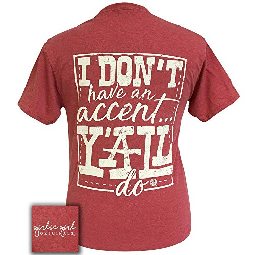 Girlie Girl Accent Y'all Vintage Preppy Short Sleeve T-Shirt (Small)
