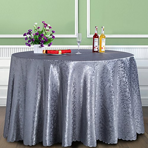 DXG&FX High-end European-style hotel wallpaper Hotel banquet gray tablecloth Roundtable Restaurant tablecloths rectangular dining table-A diameter200cm(79inch)