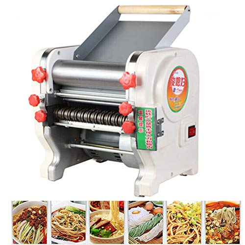 TOPCHANCES Electric Automatic Pasta Machine Stainless Steel Noodle Cutter Pasta Making Machine Dough Roller for Spaghetti and Lasagna Tagliatelle Fettuccine,3mm/9mm Blades (240mm Width)