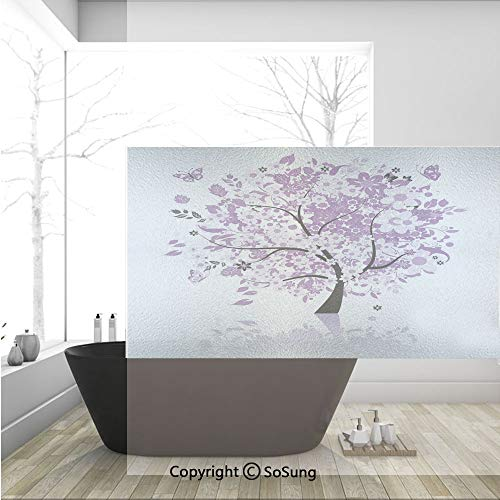 - 3D Decorative Privacy Window Films,Spring Tree of Life Sacred Woods with Blooming Flower and Butterfly Flying Romance,No-Glue Self Static Cling Glass film for Home Bedroom Bathroom Kitchen Office 36x2