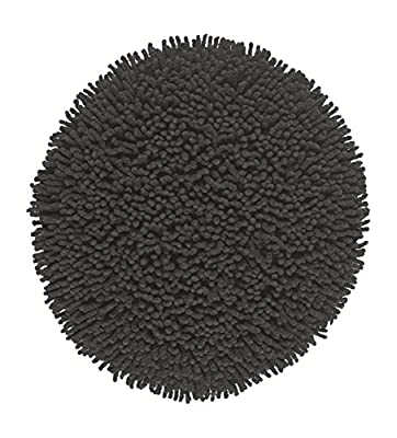 Moda At Home Inc 452971 Lollipop Shag-Style Round Bath Rug, 100% Cotton, 24-Inch Diameter, Black