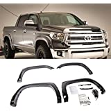 Mifeier 4pcs Front+Rear For 14-16 Tundra Smooth Blk ABS Pocket Rivet Bolt-On Fender Flares