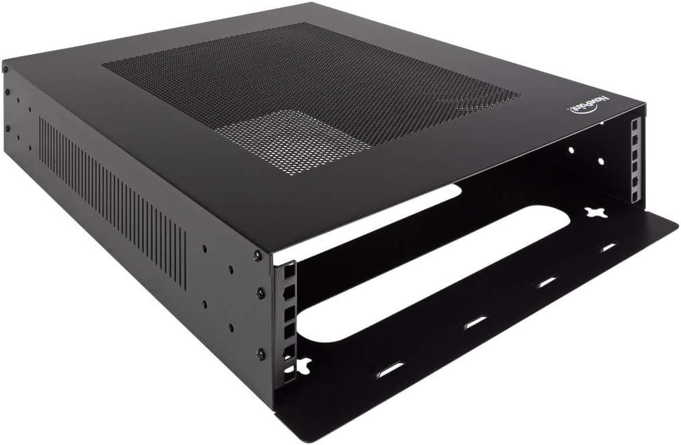 Black NavePoint 2U Vertical Wall Mountable Server Rack