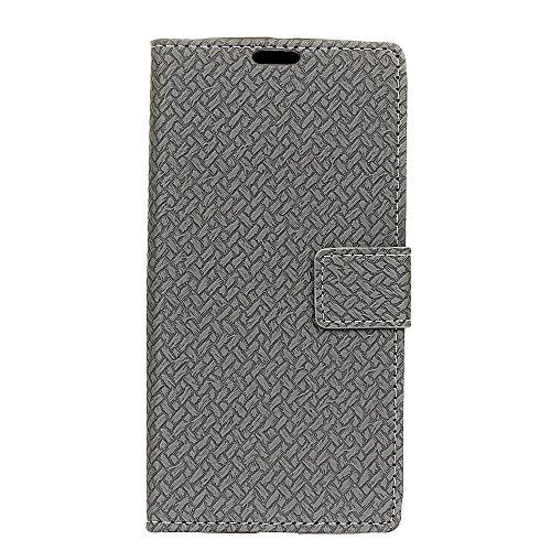 YHUISEN Patrón de armadura de cierre magnético de cuero de la PU Carpeta de Flip Folio con soporte / tarjeta de ranura cubierta protectora de la caja para Huawei Y6 II / Honor 5A ( Color : Pink ) Gray