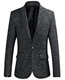Papijam Men's Dress Slim Fit Tweed Lapel Pockets One Button Suit Blazer
