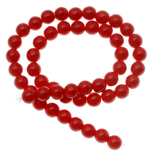 Beadaholique #5-06-93200 Czech Glass Druk 50-Piece Round Beads, 6mm, Opaque Red