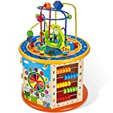 GLEEPORTE NEW!! | 8-in-1 - Wooden Activity Play Cube | Includes Tic Tac Toe Game | Multi-function, Deluxe, Learning Multi Sensory Educational Toy for Toddler & Kids with Turning Base | Ideal Gift