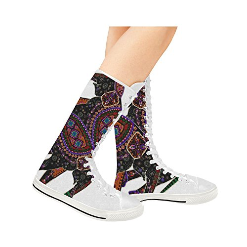 D-Story Elephant Lace Up Tall Punk Dancing Canvas Long Boots Sneakers Shoes For Women cxU8Y0