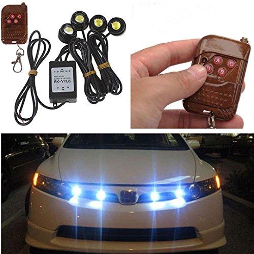 Dacawin 4in1 12V Hawkeye LED Car Emergency Strobe Lights DRL Wireless Remote Control Kit (Black)