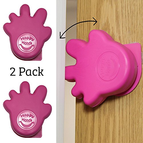 Happy Hands Anti Slam Child Door Safety Finger Trap Stoppers - 2 Pack ... (Pink)