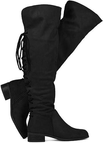 Flat Knee High Boots Fold Over Cuff