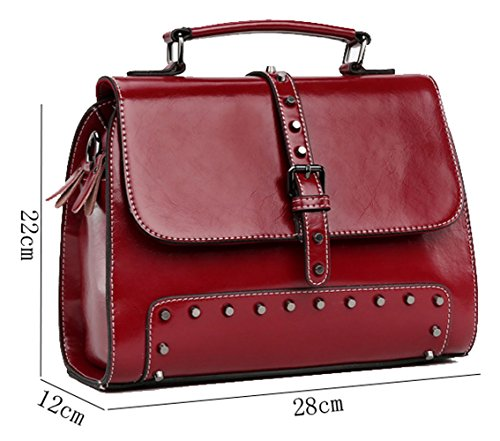 Cross Women's Handbag Cow Wine SAIERLONG Bag Leather Shoulder Body Tote Red Single Bag qHxxwXBRf