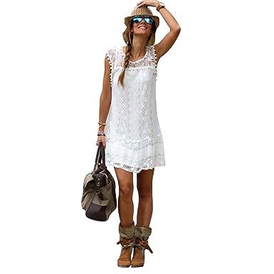 LAEMILIA Damen Sommer Spring Ärmellos Weiß Kleid Minikleid Abend ...
