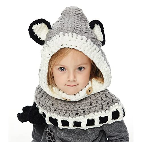 d9a59e13214 Sumolux Winter Kids Warm Fox Animal Hats Knitted Coif Hood Scarf Beanies  for Autumn Winter 70