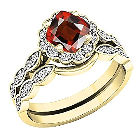14K Yellow Gold 5.5 MM Cushion Garnet & Round Diamond Ladies Halo Engagement Ring Set (Size 7.5) (Garnet Rings Clearance)