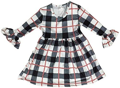 60s Plaid Skirt (BluNight Collection Big Girl Dress Kids Plaid Design Cotton Summer Party Flower Girl Dress Off White 7 2XL (201198))