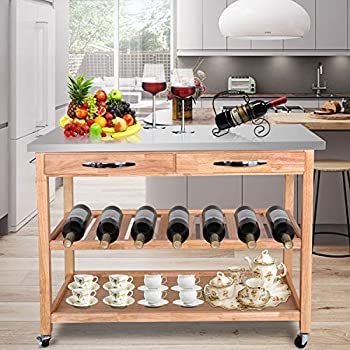 Amazon Com Large Kitchen Island Cart Wheels Rolling