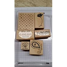Stampin' Up! POLKA DOTS & PAISLEY Set of 6 Decorative Rubber Stamps Retired