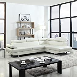 Faux Leather Sectional Armrest Sofa Set, White
