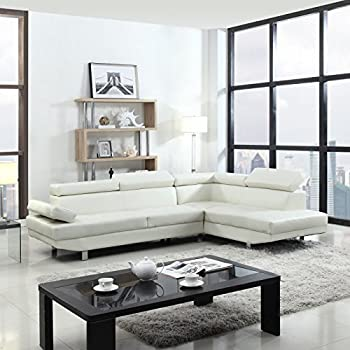 Amazon Com T35 White Bonded Leather Sectional Sofa Set